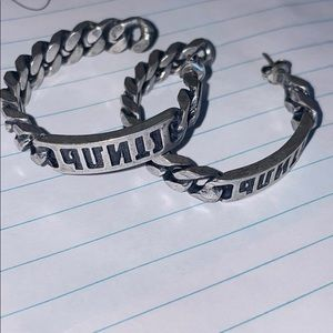 Heron Preston Silver Curb Chain Hoop Earring